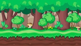 Seamless summer forest landscape with boletus for game design Royalty Free Stock Photography