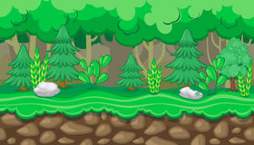 Seamless summer forest landscape with firs and stones for game design. Seamless horizontal summer background with fir trees and white rocks for video game Stock Photo