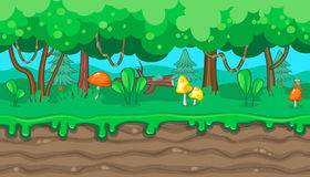 Seamless summer forest landscape with orange mushrooms for game design. Seamless horizontal summer background with mushrooms and lianas for video game Stock Image