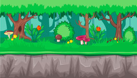 Seamless summer forest landscape with pink mushrooms for game design Royalty Free Stock Images