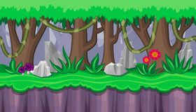 Seamless summer forest landscape with purple mushrooms for game design Stock Photo