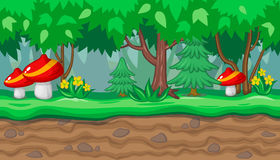 Seamless summer forest landscape with red mushrooms and firs for game design Royalty Free Stock Image
