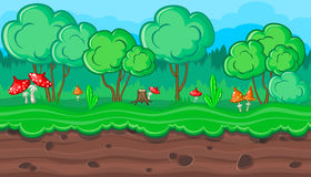 Seamless summer forest landscape with red mushrooms for game design Stock Images