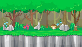 Seamless summer forest landscape with rocks and brown mushrooms for game design Stock Photos