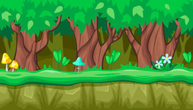 Seamless summer forest landscape with thick trees and blue mushroom for game design. Seamless horizontal summer background with old trees and blue mushroom for Royalty Free Stock Images