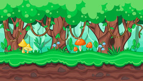 Seamless summer forest landscape with thick trees and lianas for game design Stock Image