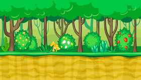 Seamless summer forest landscape with yellow mushrooms and berries for game design Royalty Free Stock Photos