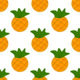 Seamless summer gold pineapple on white background. Seamless pattern in vector. royalty free illustration