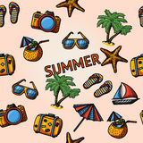Seamless summer handdrawn pattern with - coconut Royalty Free Stock Photography