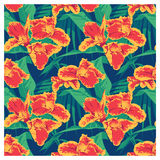 Seamless summer Hawaiian tropical pattern with, palm leaves and flowers. Royalty Free Stock Photography