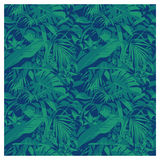 Seamless summer Hawaiian tropical pattern with, palm leaves and flowers. Stock Photo