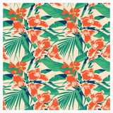 Seamless summer Hawaiian tropical pattern with, palm leaves and flowers. Royalty Free Stock Photo