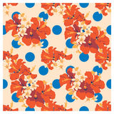 Seamless summer Hawaiian tropical pattern with, palm leaves and flowers. Stock Photos