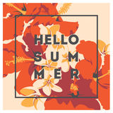 Seamless summer Hawaiian tropical pattern with, palm leaves and flowers. Royalty Free Stock Image