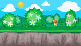 Seamless summer meadow landscape with blooming bushes for game design Stock Photography
