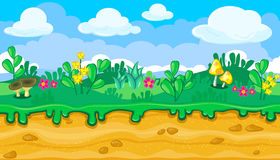 Seamless summer meadow landscape with brown and yellow mushrooms for game design Stock Photos