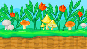 Seamless summer meadow landscape with red flowers and mushrooms for game design. Seamless horizontal summer background with flowers and big colorful mushrooms Stock Photography