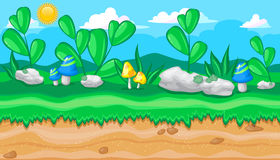 Seamless Summer Meadow Landscape With Big Stones And Blue Mushrooms For Game Design Royalty Free Stock Image
