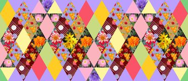 Seamless summer patchwork pattern with beautiful flowers and fruits Stock Photo