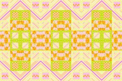 Seamless summer patchwork pattern with flowers, dots and zigzag. Stripes stock illustration