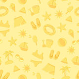 Seamless summer pattern. Seamless pattern of doodle summer and beach  symbols Stock Photos