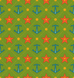 Seamless Summer Pattern with Anchor and Starfish. Vintage Texture Royalty Free Stock Images