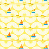 Seamless summer pattern with boats and fishes Stock Photo