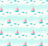 Seamless summer pattern with boats and fishes. Vector illustration Royalty Free Stock Images