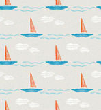 Seamless summer pattern with boats Stock Photos