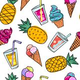 Seamless summer pattern with bright orange pineapple and icecream and jucie on a different background For teenagers illustration stock