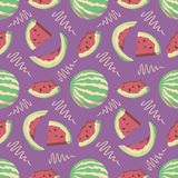 Seamless summer pattern with cartoon water melon and slices on bright purple background vector illustration