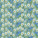 Seamless summer pattern of chamomiles,  bluebells on the grass. Colorful background in the form of a flower glade. Hand drawn watercolor illustration. Can be vector illustration