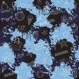 Seamless summer pattern with colored inks Royalty Free Stock Image