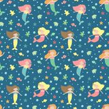 Seamless summer pattern with cute mermaids, fish, starfish and bubbles. Vector sea illustration for children, holiday, background stock illustration