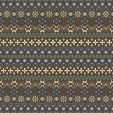 Seamless summer pattern with flowers and butterflies. Seamless summer pattern in brown, yellow, blue, green colors. Horizontal chains of flowers, twining stems Stock Images