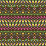 Seamless summer pattern with flowers and butterflies. Seamless motley summer pattern. Horizontal chains of flowers, twining stems, leaves, butterflies and Stock Photo