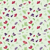 Seamless summer pattern with flowers. Green seamless summer pattern with flowers Stock Image