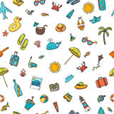 Seamless summer pattern with hand drawn beach icons. Vector beac Royalty Free Stock Image