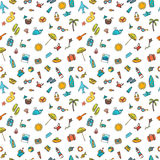 Seamless summer pattern with hand drawn beach icons. Vector beac Royalty Free Stock Photography