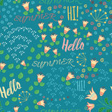 Seamless summer pattern with hand drawn meadow flowers, leaf and words Hello, Hi, Summeron the blue background. Hand lettering ill Royalty Free Stock Images