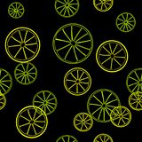 Seamless summer pattern. Line print of slices of green lime and yellow lemon on black background. Citrus fruit background. Seamless summer pattern. Line print Stock Photo