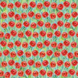 Seamless summer pattern of red poppies on the grass. Colorful background in the form of a flower glade. Seamless summer pattern of red poppies on the grass stock photo
