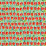 Seamless summer pattern of red tulips on the grass. Colorful background in the form of a flower glade. Hand drawn watercolor illustration. Can be used for royalty free illustration