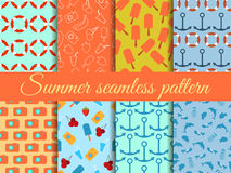 Seamless summer pattern. Summer seamless background. Summer pattern with fruit and summer objects. Vector illustration Royalty Free Stock Photo