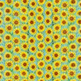 Seamless summer pattern of sunflowers on the grass. Colorful background in the form of a flower glade. Hand drawn watercolor illustration. Can be used for royalty free illustration