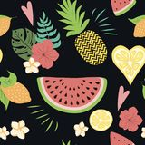 Seamless summer pattern with tropical flowers exotic fresh fruits on black. Vector illustration. Seamless floral pattern with tropical flowers on black. Vector vector illustration