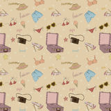 Seamless summer pattern with various elements nece Royalty Free Stock Photography