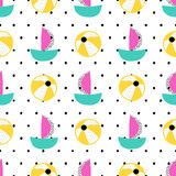 Seamless summer pattern. Vector background with different elements. Design for prints, shirts and posters Stock Photo