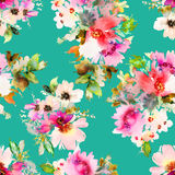 Seamless summer pattern with watercolor flowers handmade. Seamless summer pattern with watercolor flowers Stock Photo