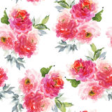 Seamless summer pattern with watercolor flowers Royalty Free Stock Images